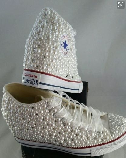 Pearl Crystal Converse Wedding Prom Sneakers  7d20a3ebd60c