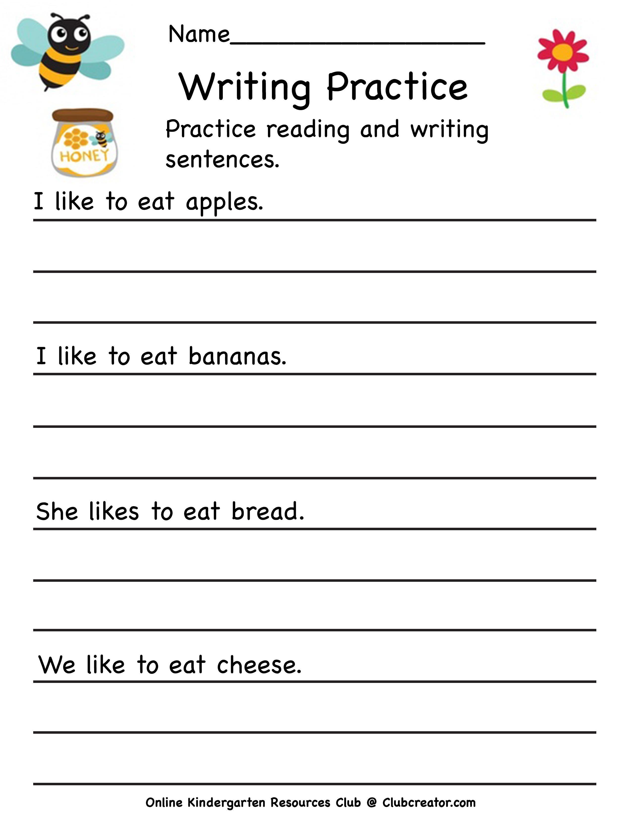 Kindergarten Writing Worksheet In