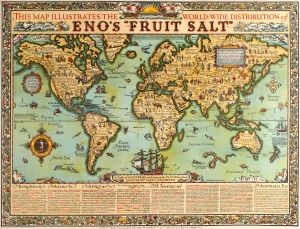Enos fruit salt illustrated world map 1925 original vintage enos fruit salt illustrated world map 1925 original vintage poster by alfred e taylor listed gumiabroncs Gallery