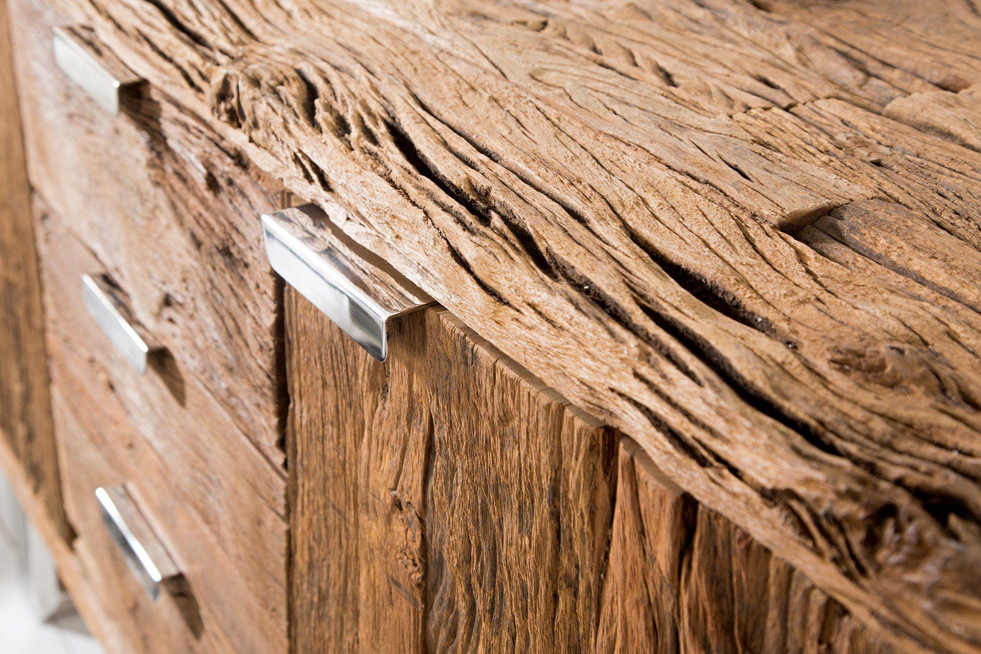 Euphoria Barracuda Antique Teak Wood Sideboard With Steal Le…