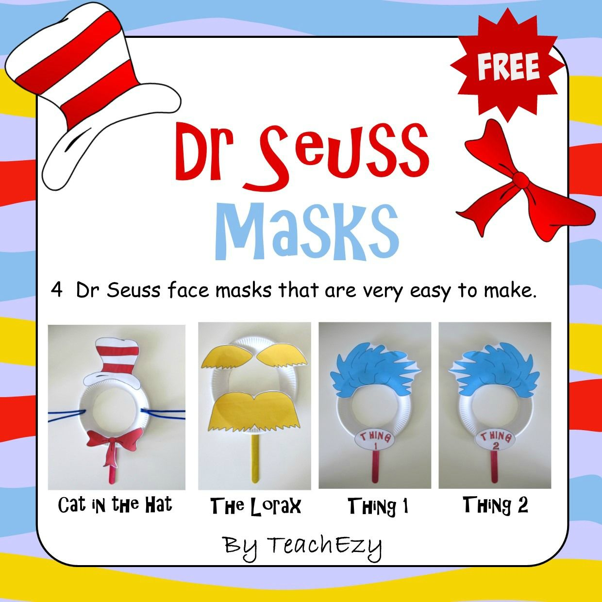 dr seuss masks free craft activity teachezy early childhood