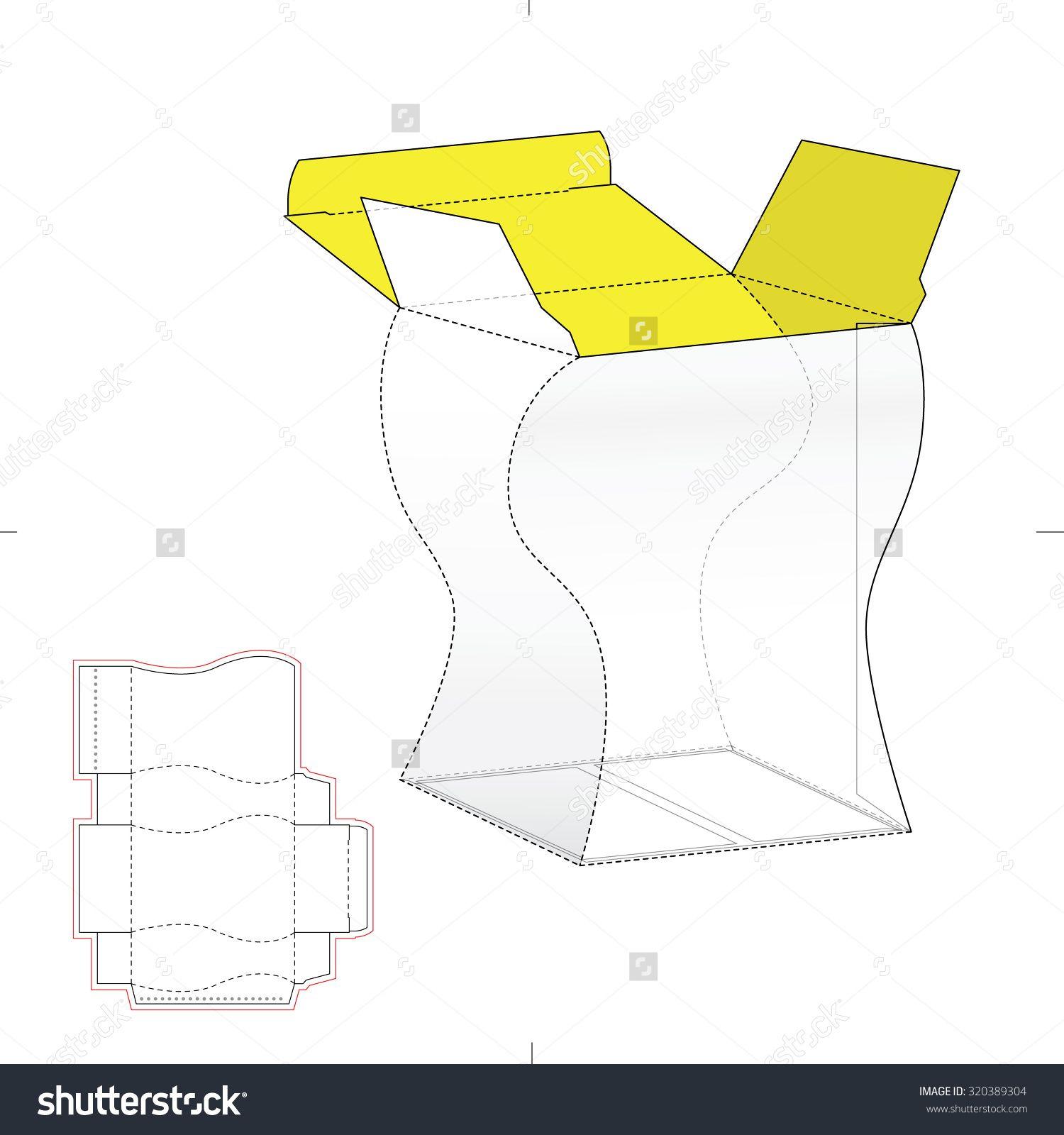 custom amphora box with die line template stock vector illustration
