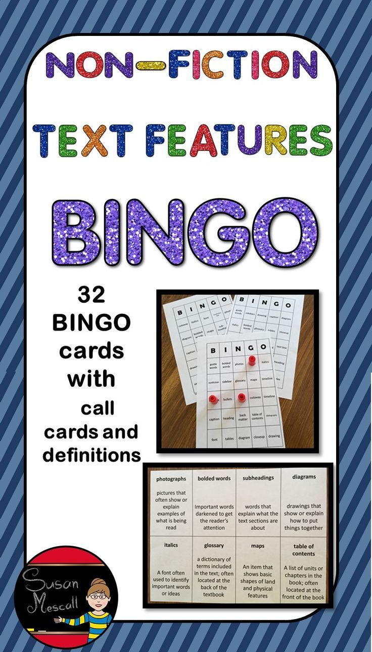 Nonfiction Text Features BINGO Nonfiction text features