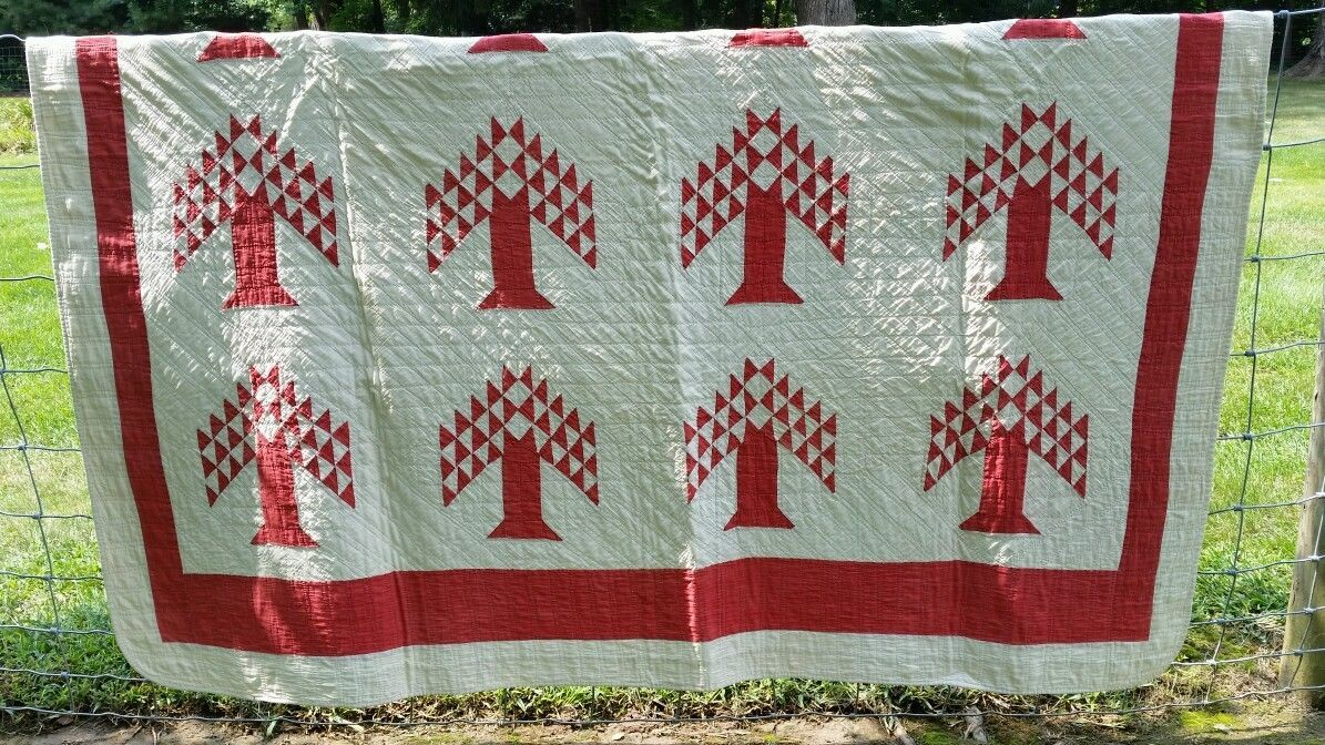 Beautiful Primitive Red White Tree of Life Quilt AAFA Desirable Pattern | eBay