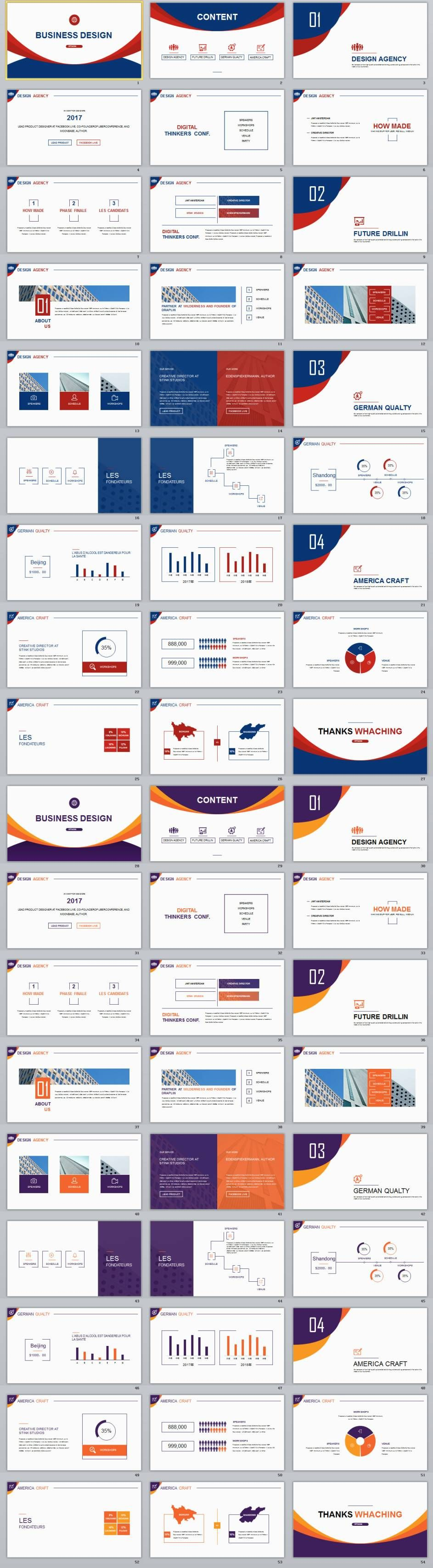 2 in 1 best multicolor business design powerpoint template, Modern powerpoint