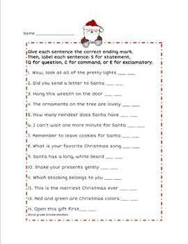 4 Types Of Sentences A Christmas Freebie Secondgradesquad Com