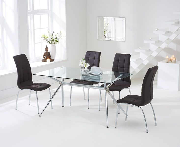 Savelli 150cm Glass Dining Table With Calgary Chairs Dining