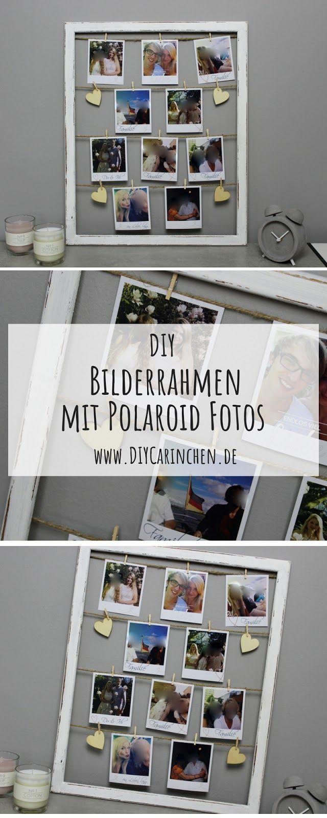 DIY ausgefallener Bilderrahmen mit Fotos im Polaroid-Stil selber machen #wanddekoselbermachen