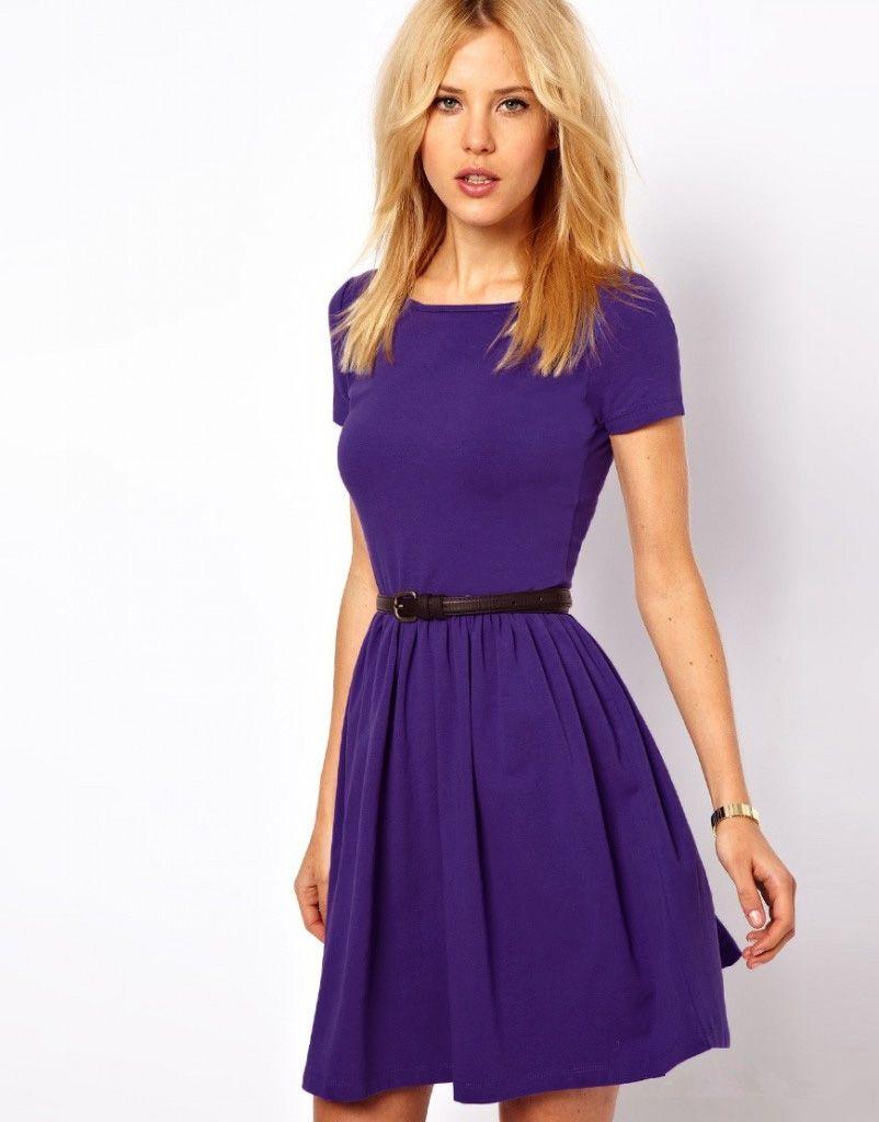 Hot-New-Casual-Women-Jersey-Dress-Solid-Design-Short-Sleeves-Slim ...