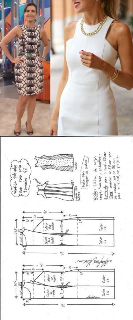 Vestido tubinho cava reta – DIY – molde, corte e costura – Marlene ...