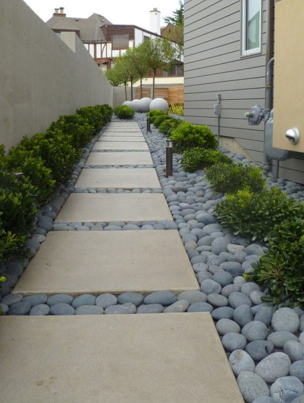 Beach Pebbles | Black in 2019 | Side yard landscaping ... on Pebble Yard Ideas id=24072