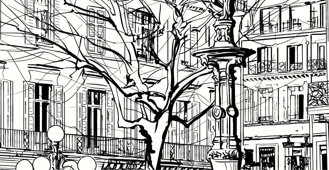 gratuit, ville avec fontaine - Dessiner Maison D Gratuit