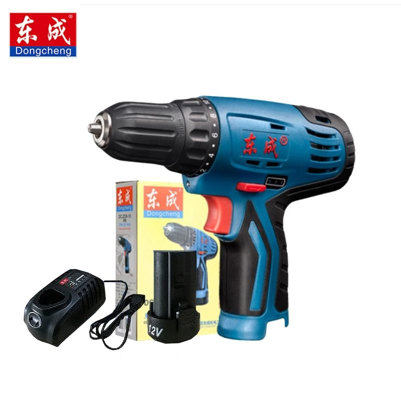 Dongcheng Power Drill 12 Volt Max Dc Lithium Ion Battery 20mm 2 Speed Electric Cordless Drill Mini Screwdriver Cordless Drill Lithium Ion Batteries Power Drill