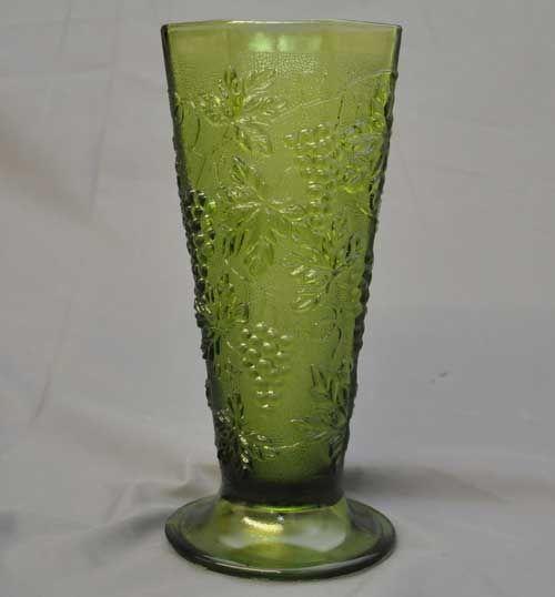 Vintage Green Glass Vase Grape Leaf Indiana Harvest Vintage