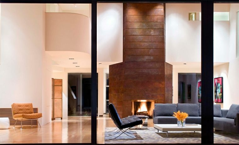 diseño de interiores con chimenea Arquitectura e interiorismo - chimeneas interiores