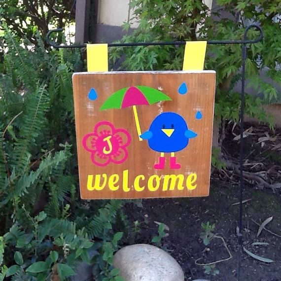 Sale Wooden Garden Sign Garden Flag Welcome By Thecreativesign Garden Signs Wooden Garden Garden Flags