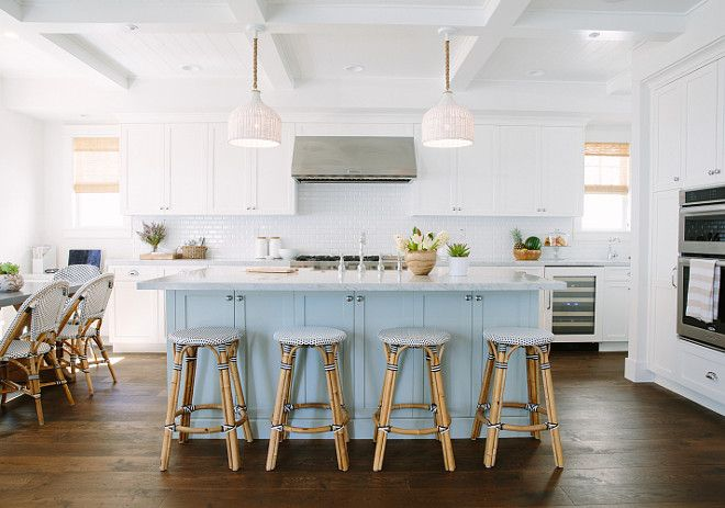 inspiring white kitchen with light blue kitchen island. white