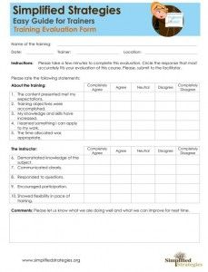Training Evaluation Form  Tools For Professional Development