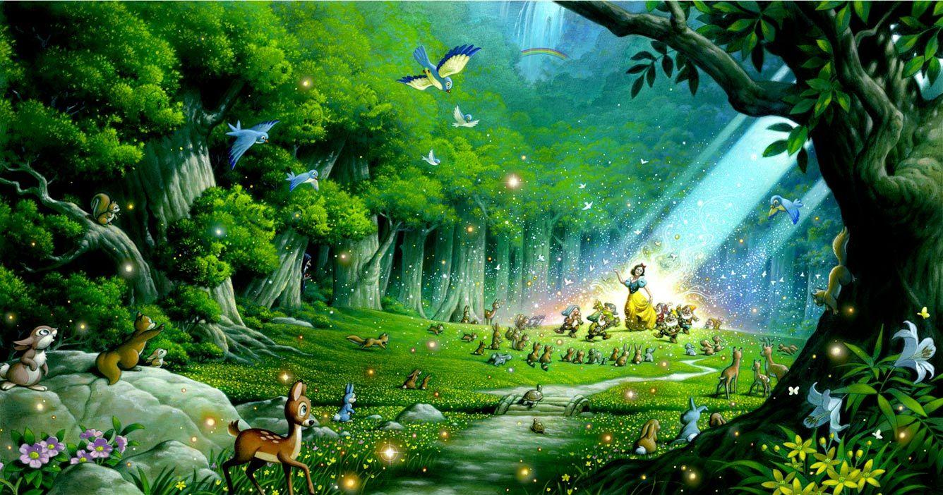 Party In The Forest By Tsuneo Sanda Giclee On Canvas Disney Background Disney Fine Art Disney Art