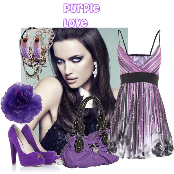 Purple Love by cherrypie2 on Polyvore featuring Brian Atwood, HOBO, Oasis, Armani Exchange, Yves Saint Laurent, Gathering Eye, Hello Kitty, Jensen-Conroy and Ten Thousand Things