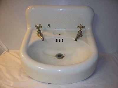 1920 S Standard Sanitary Oval Cast Iron Bathroom Sink Wall Mount High Backsplash Sink Bathroom Sink Backsplash