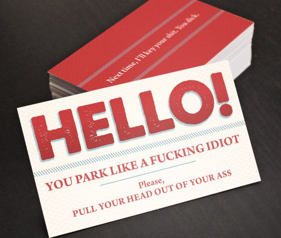 Bad parking cards you park like an idiot funny business cards bad parking you park like an idiot funny by thedesignfaction colourmoves