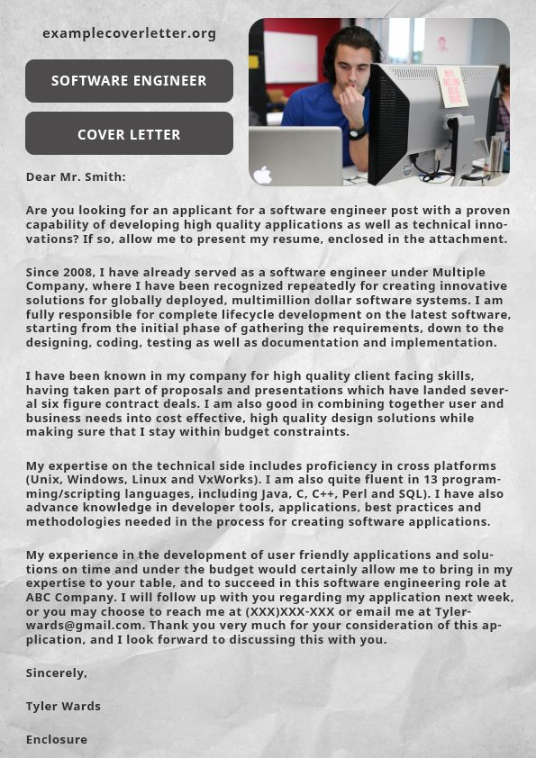 software engineer cover letter | For Mady | Cover letter ...