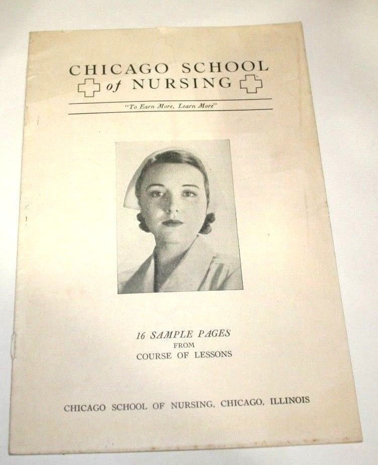1936 Chicago School Nursing Sample Lessons Vintage