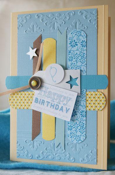 Eine Liebevoll Hergestellte Glückwunschkarte Zum Geburtstag.  Farbe:Hellblau,Hellbraun,Gelb. Versand
