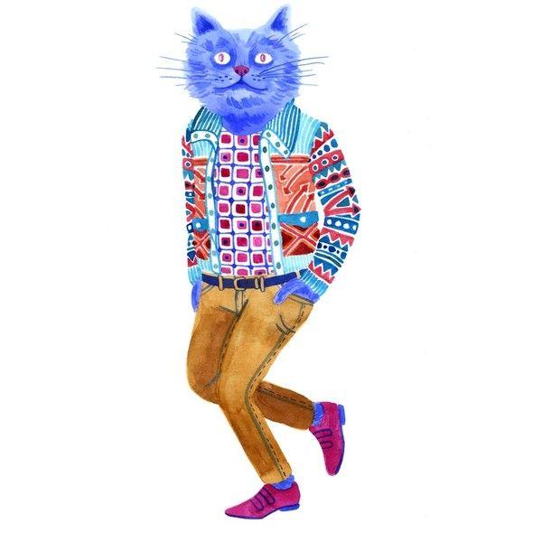 Lisa Hanawalt Blue Cat Man (€14) ❤ liked on Polyvore featuring fillers