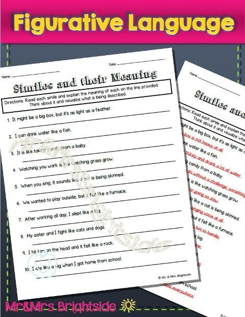 Figurative Language Similes Worksheet Focusing On Similes And Their Meaning Students Are Required To Figure Figurative Language Context Clues English Vocab Similes worksheet 4th grade