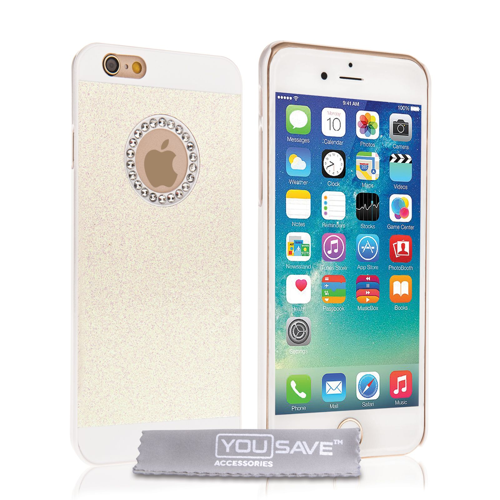 Yousave Accessories iPhone 6 and 6s Flash Diamond Case - White | Mobile Madhouse