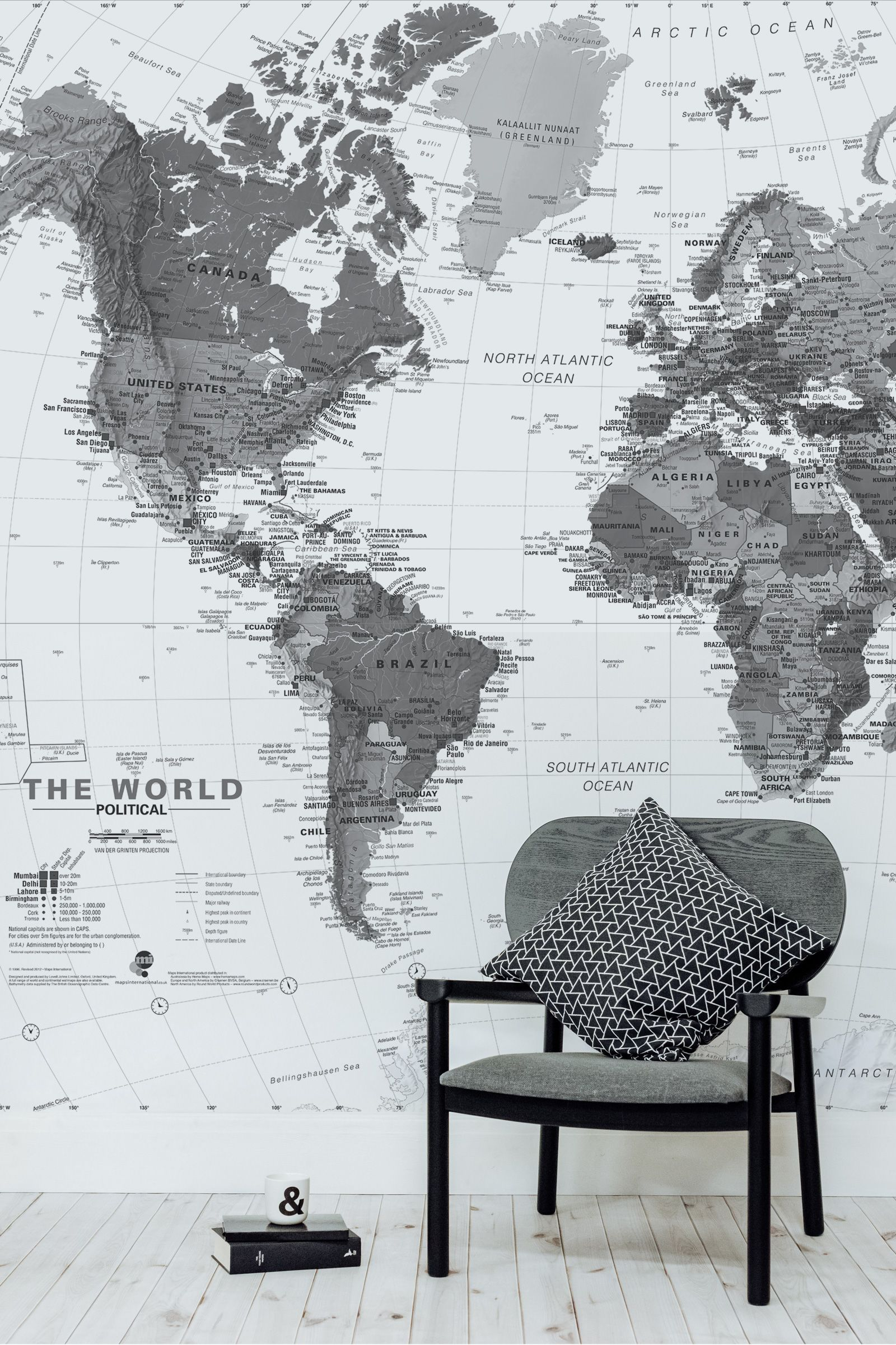 Black and white detailed map mural muralswallpaper the this world map wallpaper is full of detail and makes for an excellent backdrop in a home office gumiabroncs Choice Image