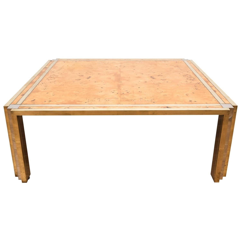 Birdseye maple veneered coffee table in the manner of
