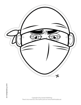 This Bandana Ninja Outline Mask Features The Outline Of A Powerful Ninja With Face And Head Covered With A Bandana Free To Coloring Mask Printable Masks Mask