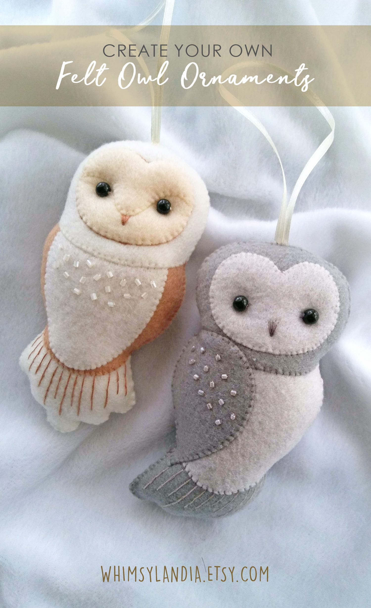 New Set Of Two Felt Owl Ornaments Pdf Patterns And Tutorial Etsy Felt Owls Felt Ornaments Felt Crafts