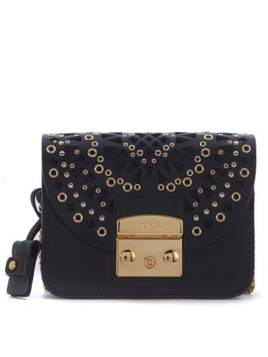 FURLA Furla Metropolis Bolero Mini Black Leather Shoulder Strap. #furla #bags #shoulder bags #leather #