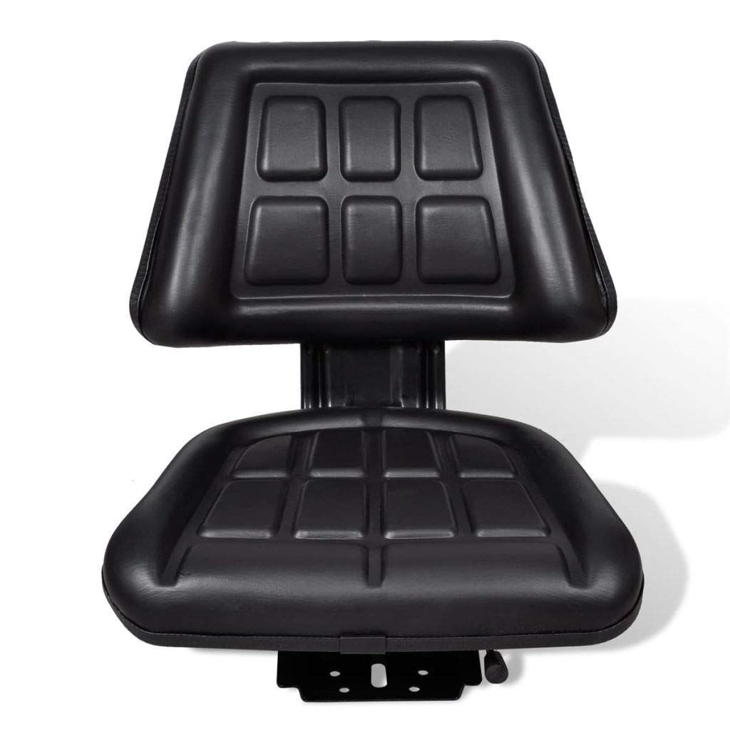Lawn Tractor Seat With Backrest for Riding Mower Black-Steel-PVC