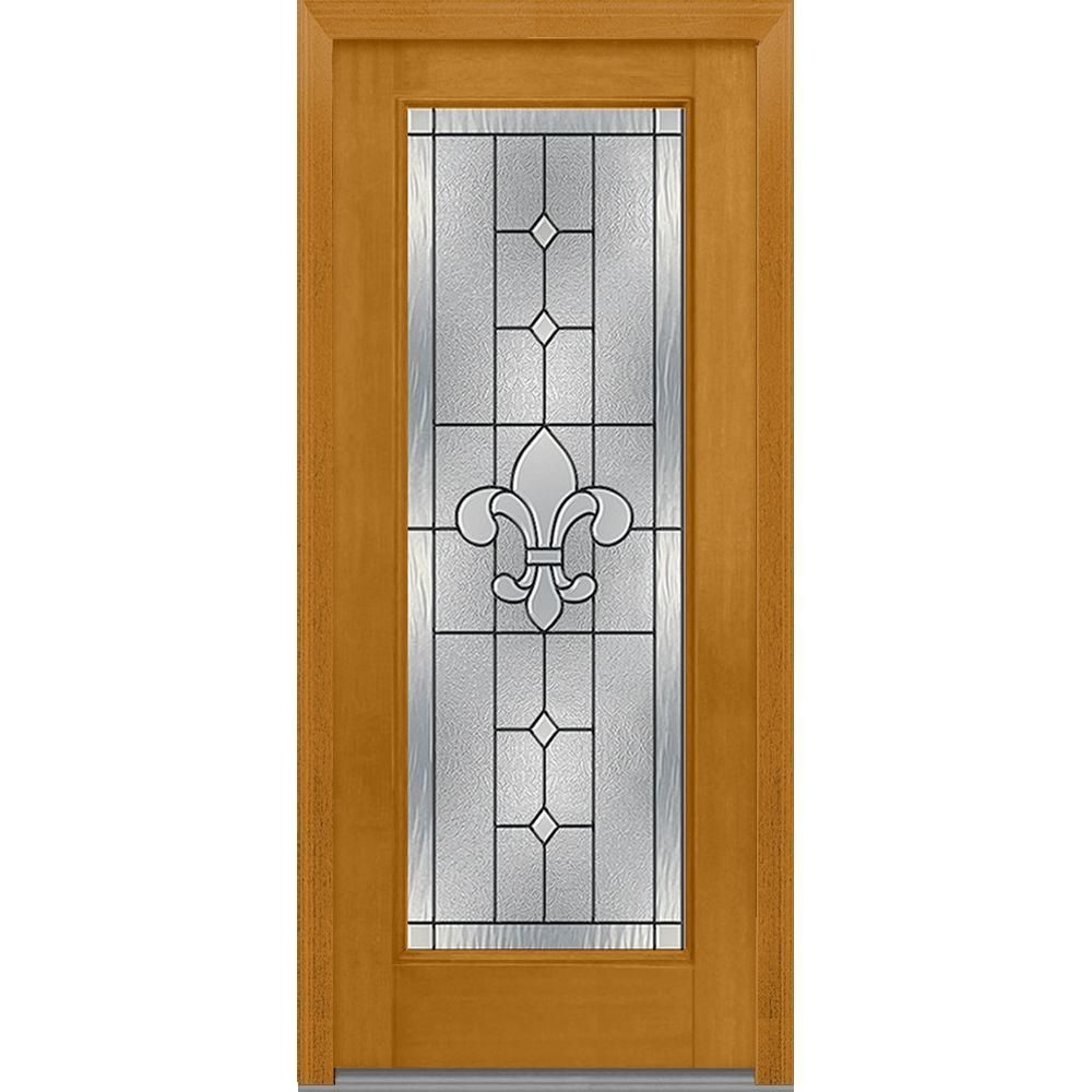 Milliken Millwork 32 In. X 80 In. Carrollton Decorative Glass Full Lite  Mahogany Finished Fiberglass Prehung Front Door, Fruitwood