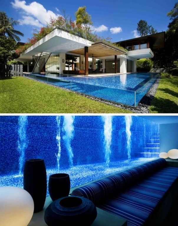 Modern Swimming Pool with Custom pool by Guz Architects, Pathway, Green roof, exterior stone floors, Infinity pool, Fence