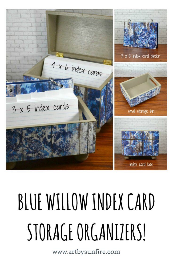 Ready For Unique Storage Solutions Here Is A Storage Bin Recipe Box And An Index Card Binder In A Timeless Blue W Storage Index Card Binder Wooden Signs Diy
