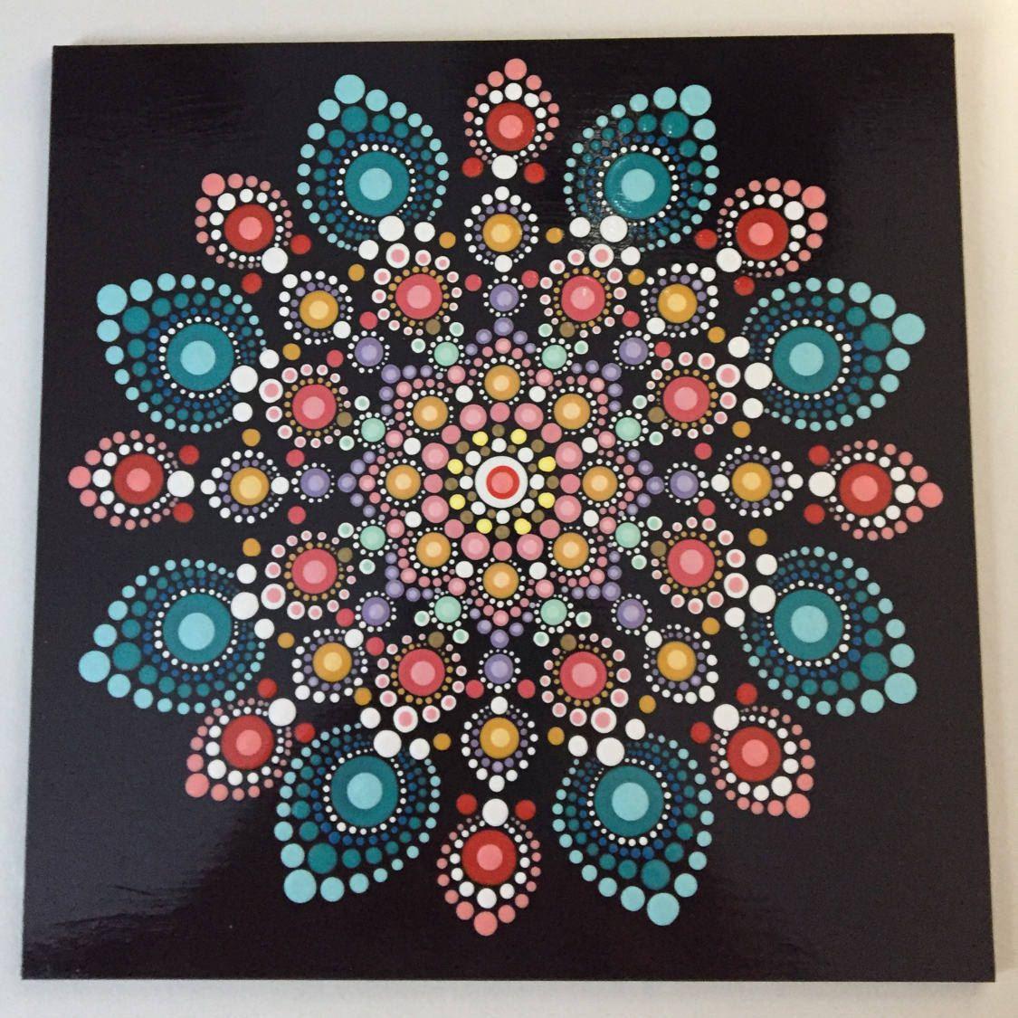 Hand Painted Mandala Artist Panel Meditation Dot Art Calming Healing #459