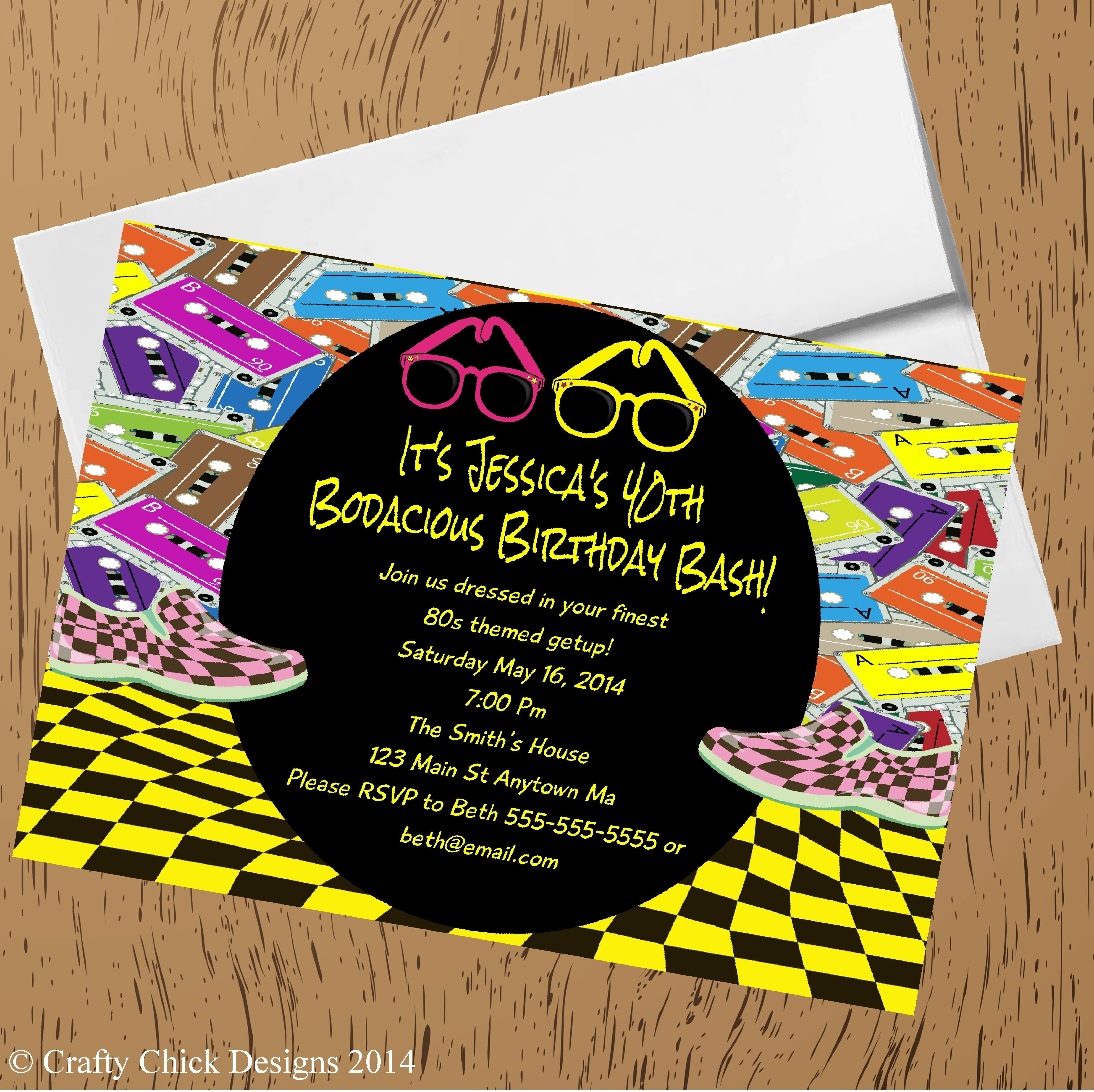 1980s Bodacious Birthday Party Invitations   Crafty Chick Designs ...
