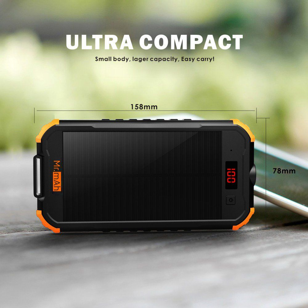 Solar Charger Mr Mah 12000mah Portable External Battery Pack With Led Display Dual Usb Solar Power Bank For Campin Solar Power Bank Powerbank External Battery