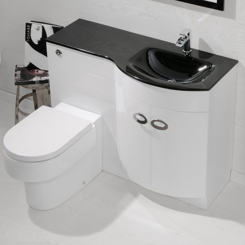 The Art Gallery Bathroom Vanity Unit Cabinets Back To Wall Toilet Black Glass Basin Suite Combo