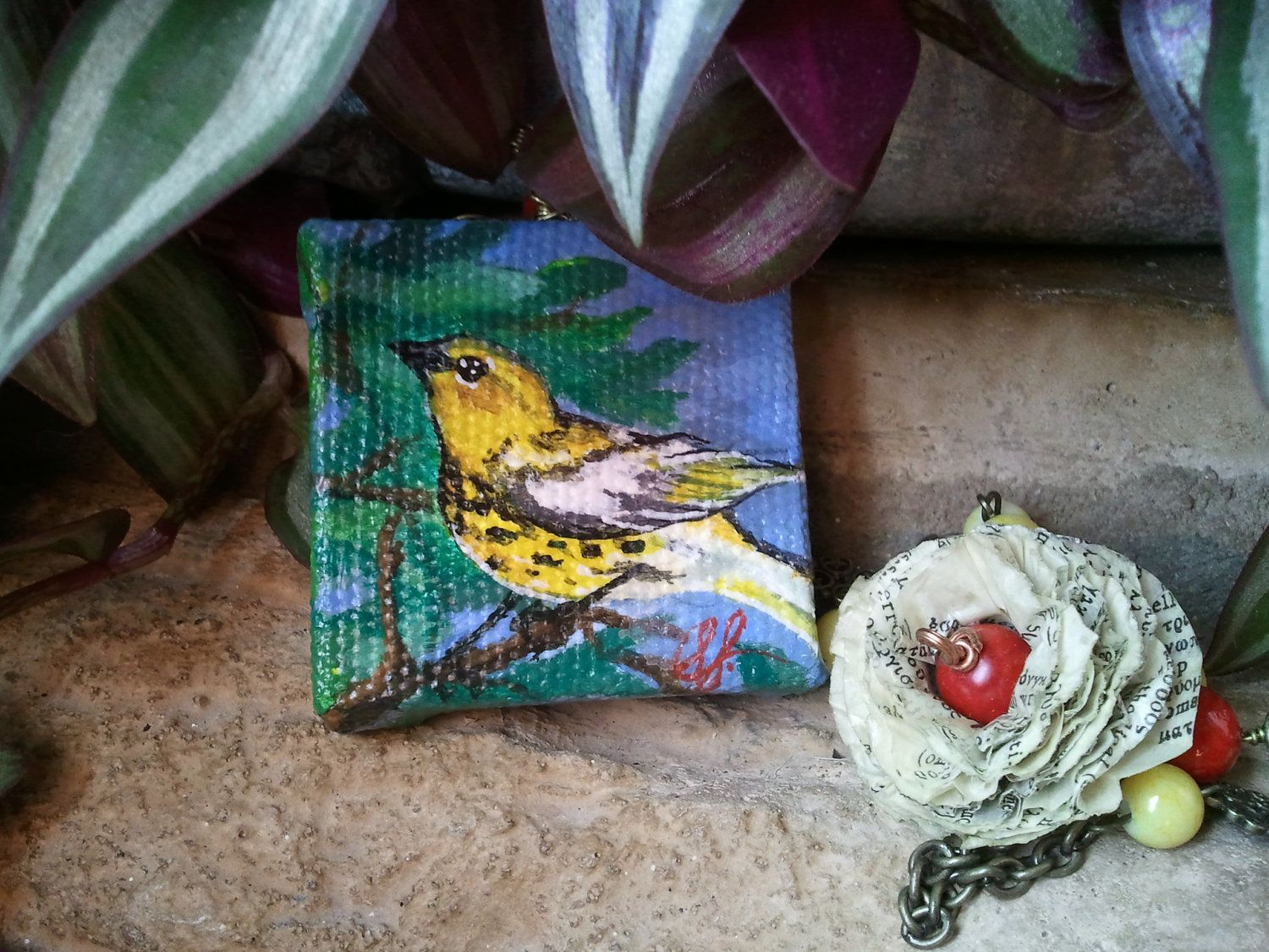 Yellow Bird Painting Necklace by TheLittleBrokenWing on Etsy