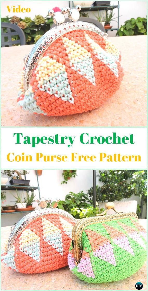 Tapestry Crochet Coin Purse Free Pattern Video -Tapestry Crochet ...