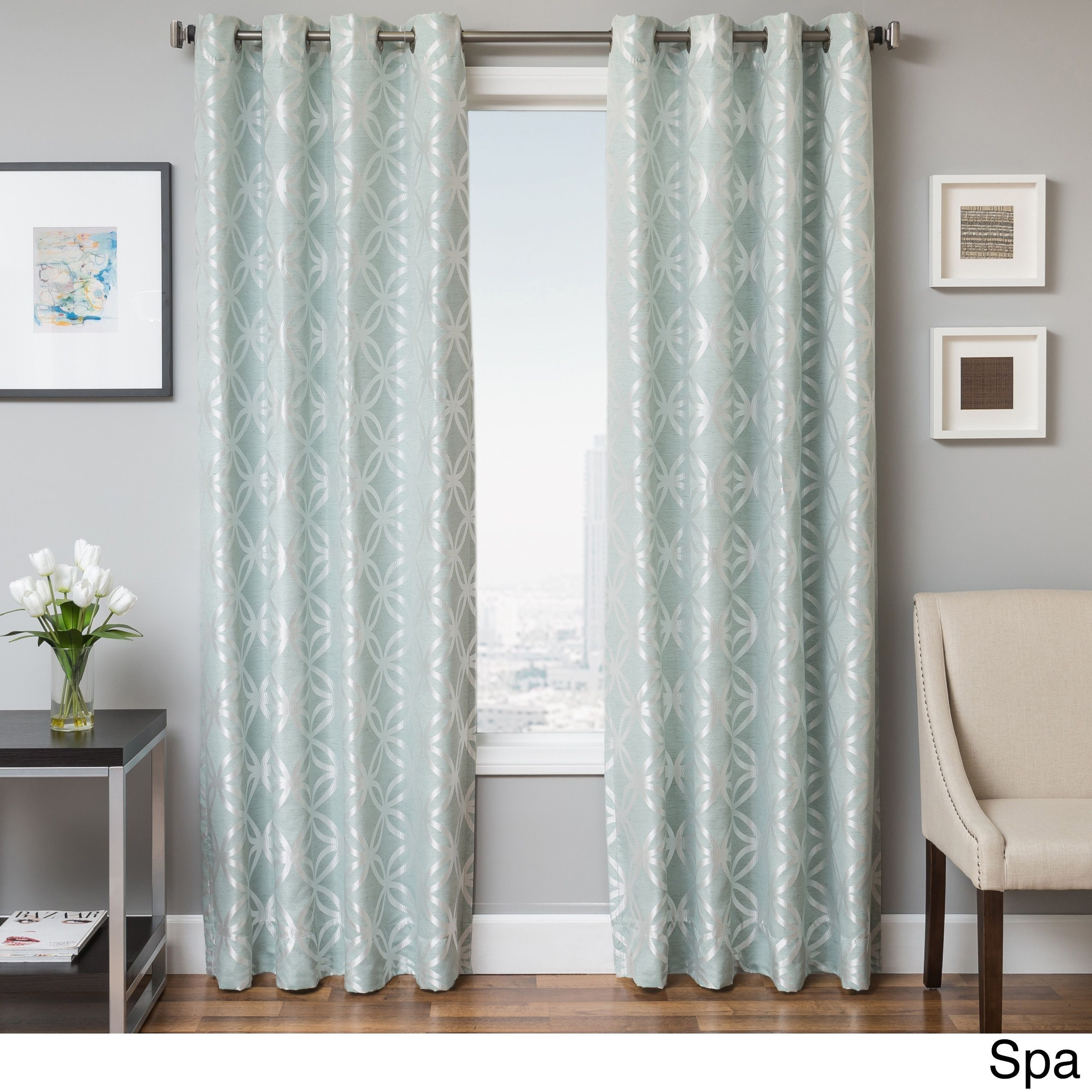 Softline Paxton Geometric Grommet Top Curtain Panel (84 Spa), Blue,