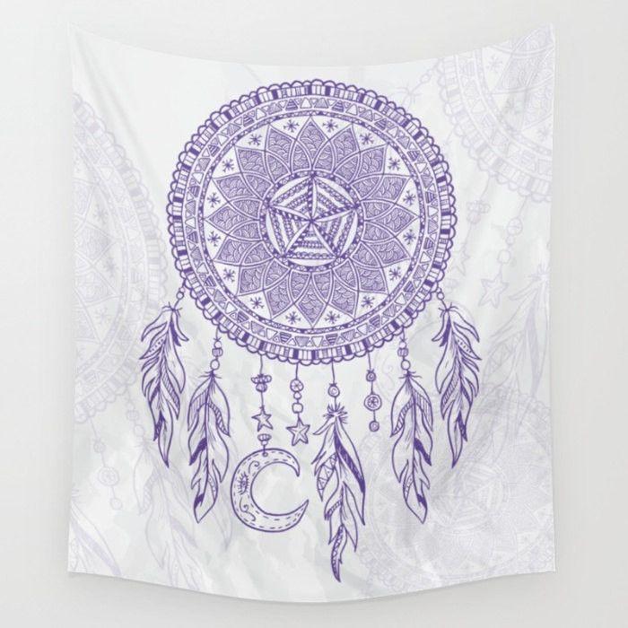 Purple Dream Catcher Tapestry Wall Hanging Meditation Yoga Grunge Hippie