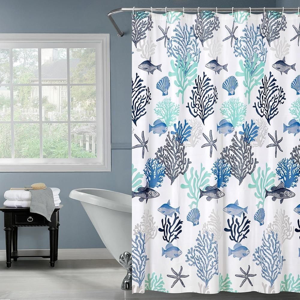 Shower Curtain Blue Coral Reef Curtains Coral Blue Home Decor